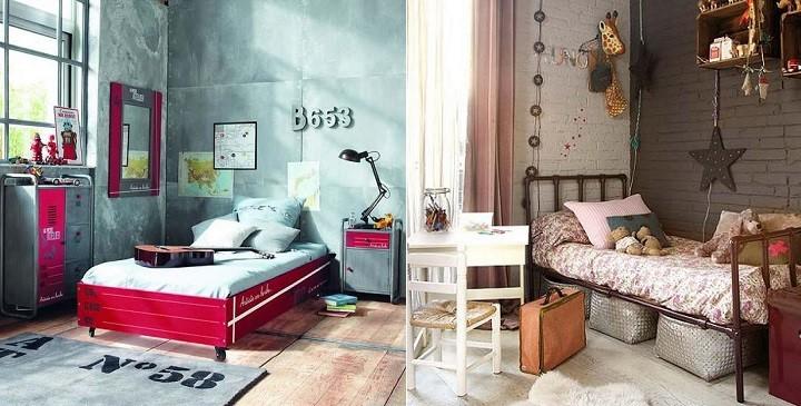 Dormitorios juveniles estilo industrial con camas de forja - Habitaciones juveniles con estilo ...