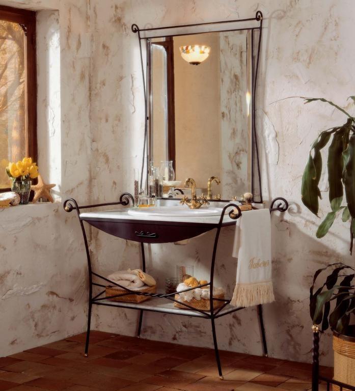 C mo decorar un ba o con muebles de forja forja for Espejos de bano rusticos