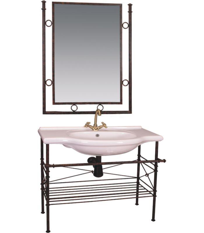 C mo decorar un ba o con muebles de forja forja - Muebles para lavabos con pie ...