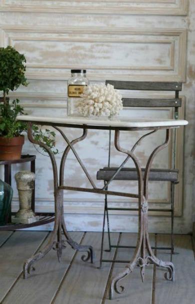 mesa de forja de fundicion para patios rusticos